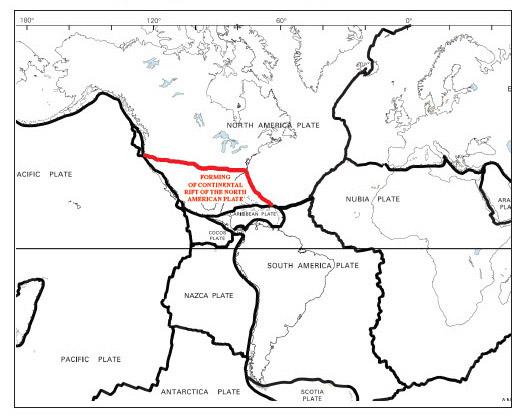 Формиране на пукнатина в Североамериканската литосферна плоча