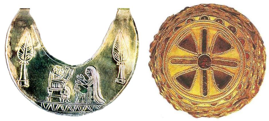 Бижу с формата на полумесец - символично изображение на Аллата и триалтейска чаша
