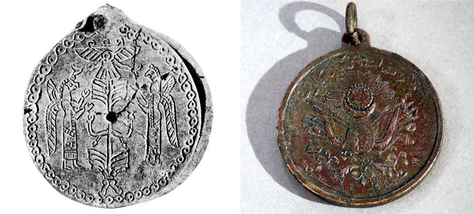 Медальони. Експоната от дясно е с изобразен знак АллатРа